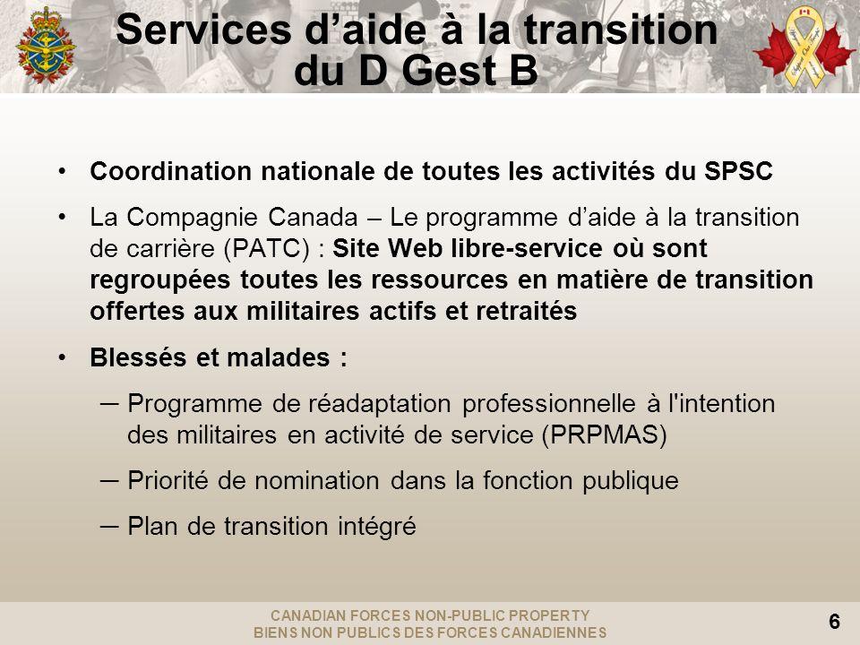 CANADIAN FORCES NON-PUBLIC PROPERTY BIENS NON PUBLICS DES FORCES CANADIENNES 6 Services daide à la transition du D Gest B Coordination nationale de to