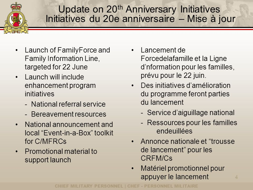 CHIEF MILITARY PERSONNEL | CHEF - PERSONNEL MILITAIRE Update on 20 th Anniversary Initiatives Initiatives du 20e anniversaire – Mise à jour Launch of FamilyForce and Family Information Line, targeted for 22 June Launch will include enhancement program initiatives - National referral service - Bereavement resources National announcement and local Event-in-a-Box toolkit for C/MFRCs Promotional material to support launch Lancement de Forcedelafamille et la Ligne dnformation pour les familles, prévu pour le 22 juin.