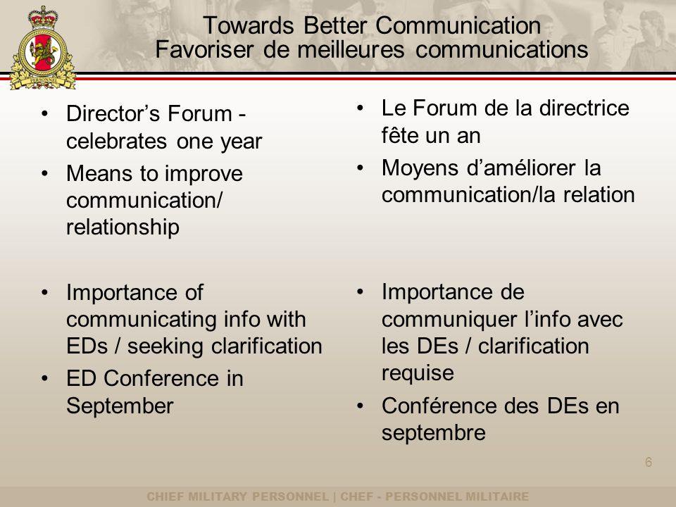 CHIEF MILITARY PERSONNEL | CHEF - PERSONNEL MILITAIRE Towards Better Communication Favoriser de meilleures communications Directors Forum - celebrates one year Means to improve communication/ relationship Importance of communicating info with EDs / seeking clarification ED Conference in September Le Forum de la directrice fête un an Moyens daméliorer la communication/la relation Importance de communiquer linfo avec les DEs / clarification requise Conférence des DEs en septembre 6