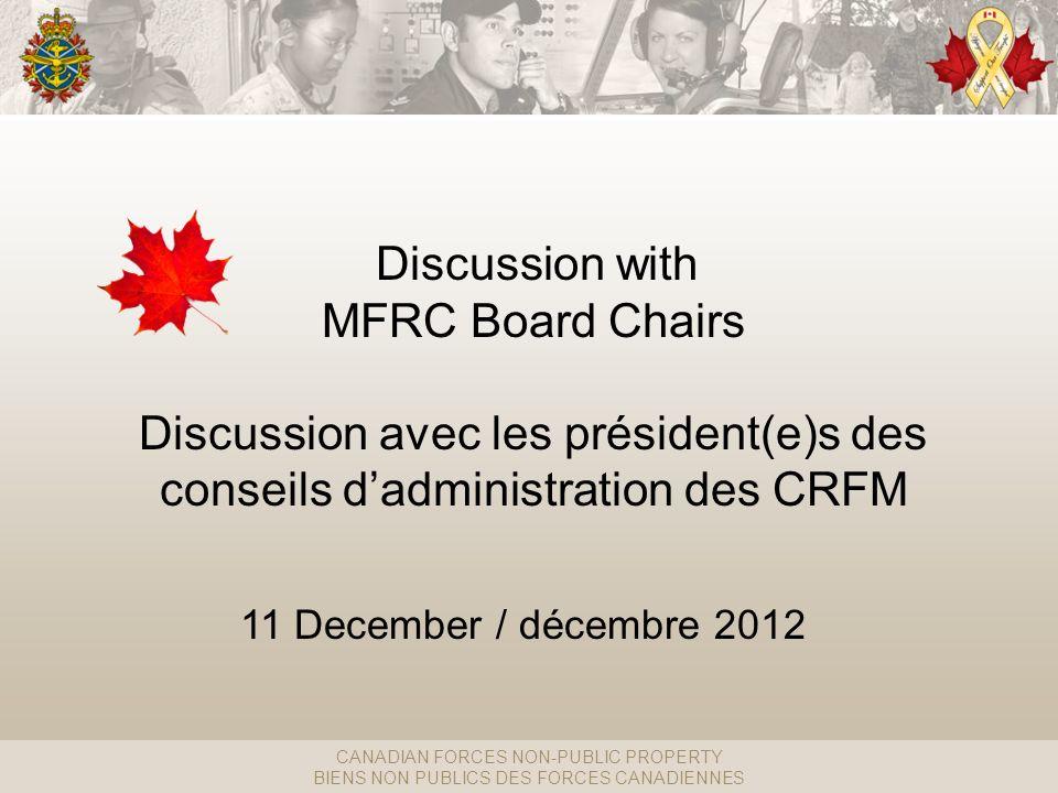 CANADIAN FORCES NON-PUBLIC PROPERTY BIENS NON PUBLICS DES FORCES CANADIENNES Discussion with MFRC Board Chairs Discussion avec les président(e)s des conseils dadministration des CRFM 11 December / décembre 2012