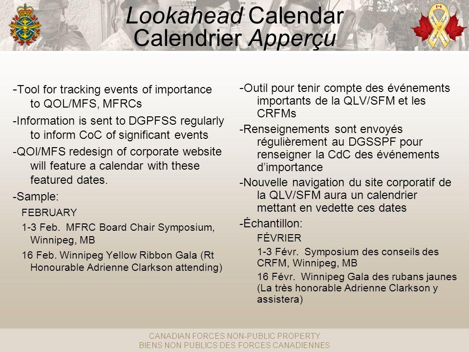 CANADIAN FORCES NON-PUBLIC PROPERTY BIENS NON PUBLICS DES FORCES CANADIENNES Lookahead Calendar Calendrier Apperçu - Outil pour tenir compte des événements importants de la QLV/SFM et les CRFMs -Renseignements sont envoyés régulièrement au DGSSPF pour renseigner la CdC des événements dimportance -Nouvelle navigation du site corporatif de la QLV/SFM aura un calendrier mettant en vedette ces dates -Échantillon: FÉVRIER 1-3 Févr.