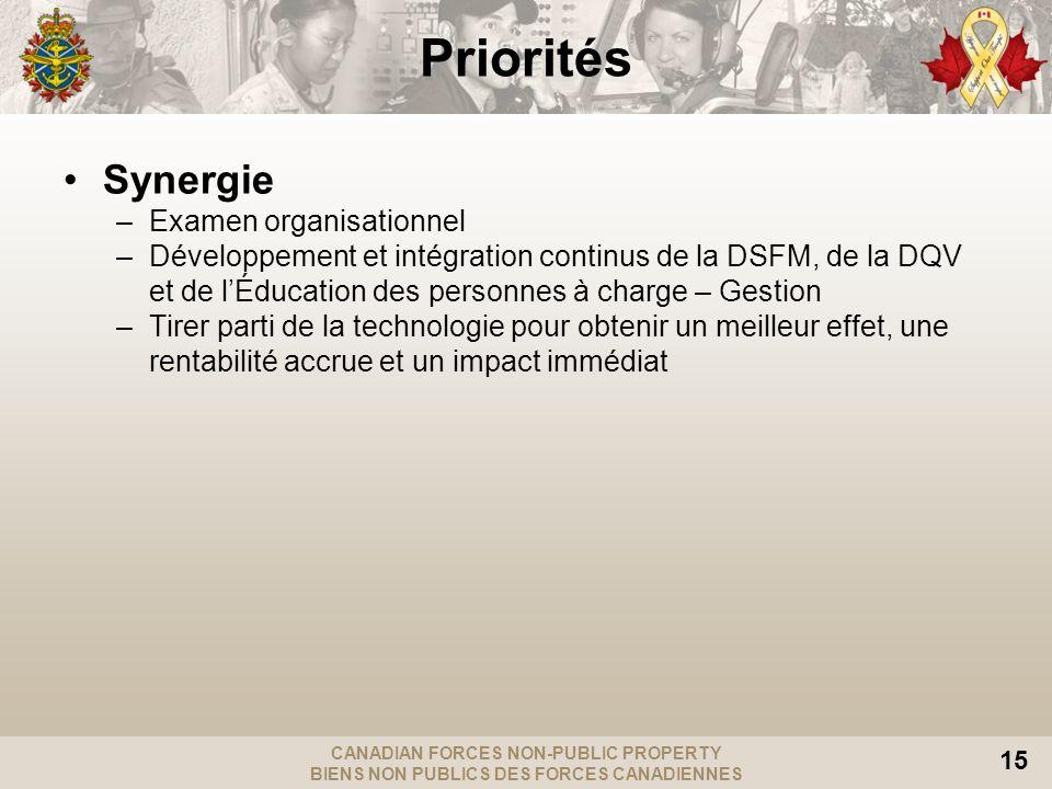 CANADIAN FORCES NON-PUBLIC PROPERTY BIENS NON PUBLICS DES FORCES CANADIENNES 15 Synergie –Examen organisationnel –Développement et intégration continu