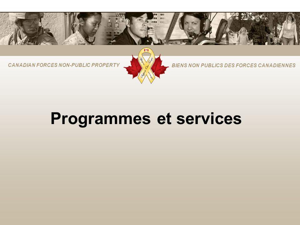 CANADIAN FORCES NON-PUBLIC PROPERTY BIENS NON PUBLICS DES FORCES CANADIENNES Programmes et services