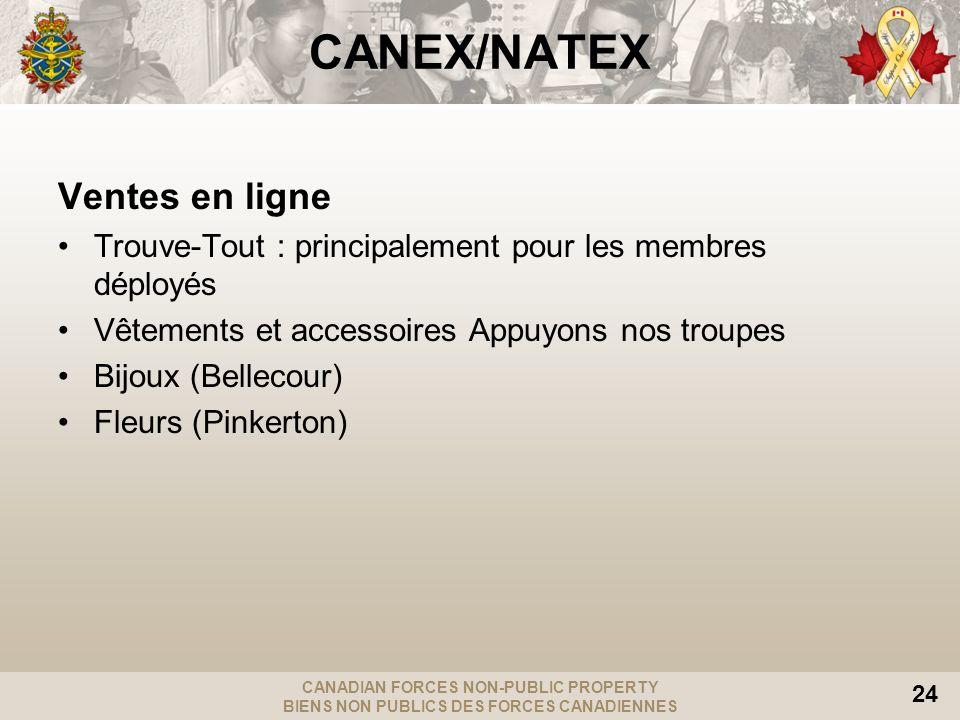 CANADIAN FORCES NON-PUBLIC PROPERTY BIENS NON PUBLICS DES FORCES CANADIENNES 24 CANEX/NATEX Ventes en ligne Trouve-Tout : principalement pour les memb