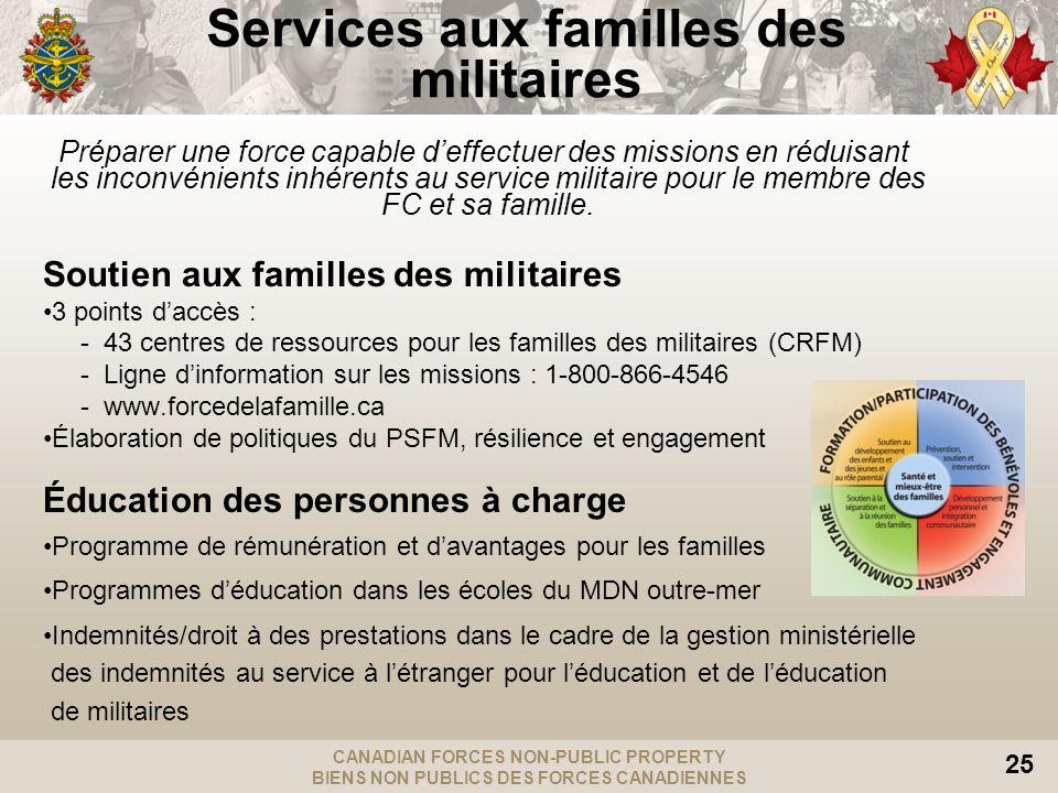 CANADIAN FORCES NON-PUBLIC PROPERTY BIENS NON PUBLICS DES FORCES CANADIENNES 25 Services aux familles des militaires Préparer une force capable deffec