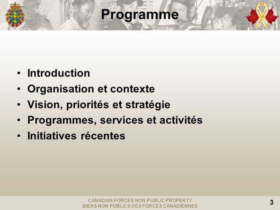 CANADIAN FORCES NON-PUBLIC PROPERTY BIENS NON PUBLICS DES FORCES CANADIENNES 3 Programme Introduction Organisation et contexte Vision, priorités et st