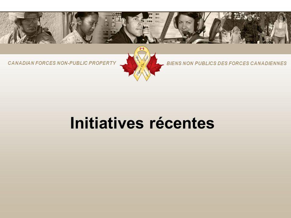 CANADIAN FORCES NON-PUBLIC PROPERTY BIENS NON PUBLICS DES FORCES CANADIENNES Initiatives récentes