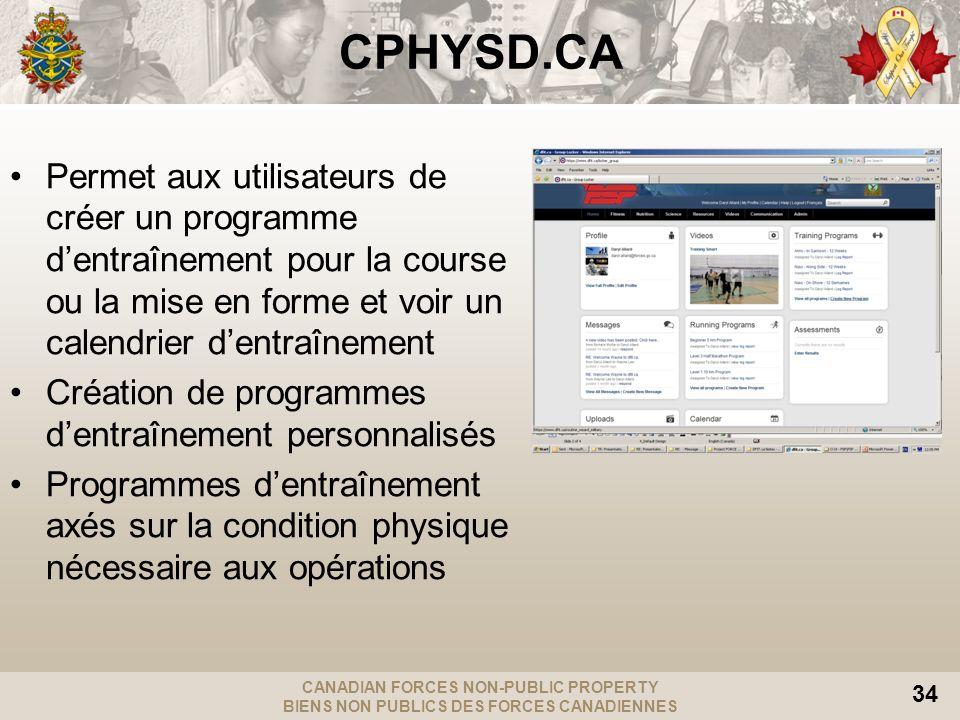 CANADIAN FORCES NON-PUBLIC PROPERTY BIENS NON PUBLICS DES FORCES CANADIENNES 34 CPHYSD.CA Permet aux utilisateurs de créer un programme dentraînement