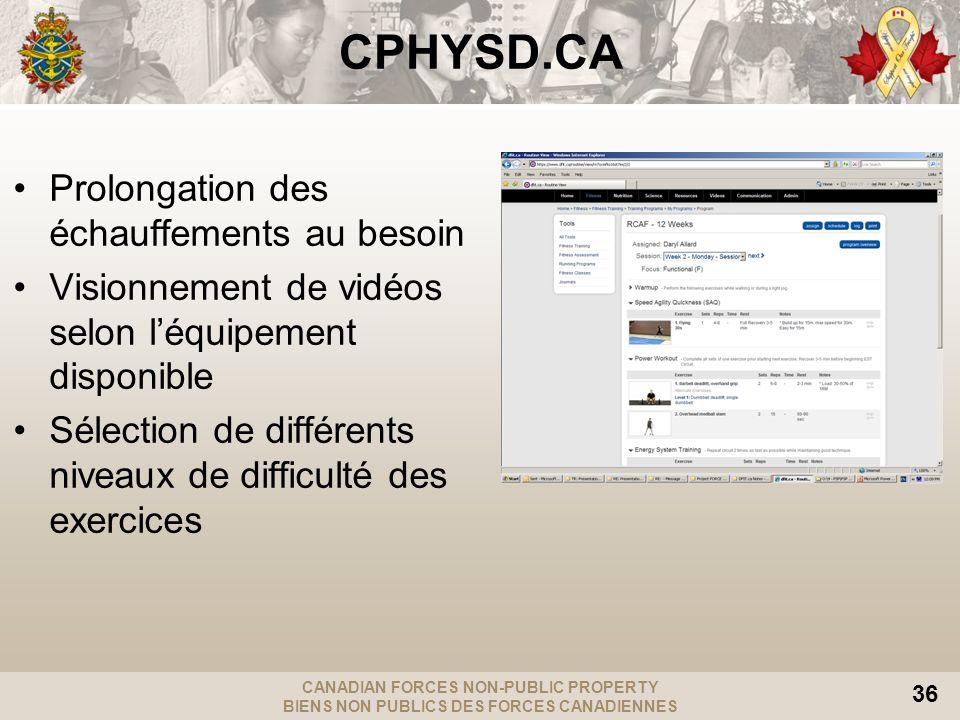 CANADIAN FORCES NON-PUBLIC PROPERTY BIENS NON PUBLICS DES FORCES CANADIENNES 36 CPHYSD.CA Prolongation des échauffements au besoin Visionnement de vid