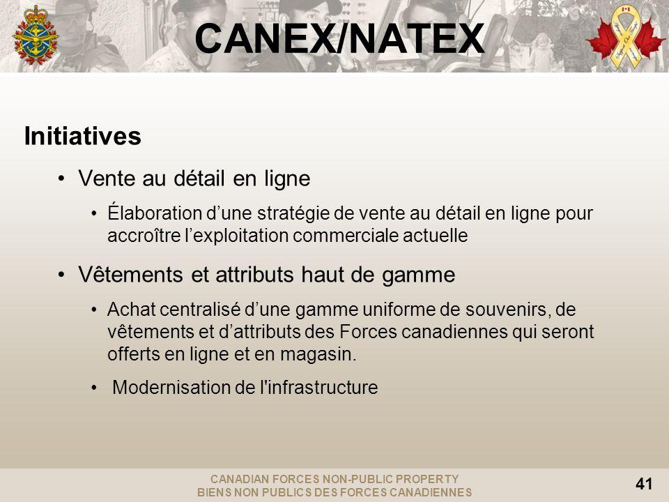 CANADIAN FORCES NON-PUBLIC PROPERTY BIENS NON PUBLICS DES FORCES CANADIENNES 41 CANEX/NATEX Initiatives Vente au détail en ligne Élaboration dune stra