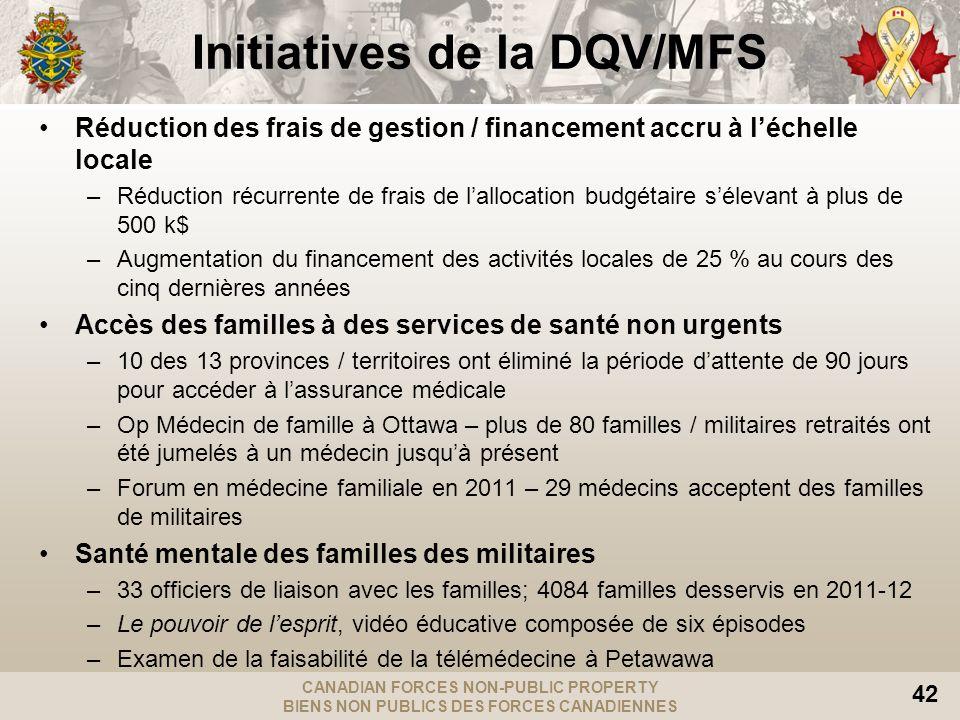 CANADIAN FORCES NON-PUBLIC PROPERTY BIENS NON PUBLICS DES FORCES CANADIENNES 42 Initiatives de la DQV/MFS Réduction des frais de gestion / financement