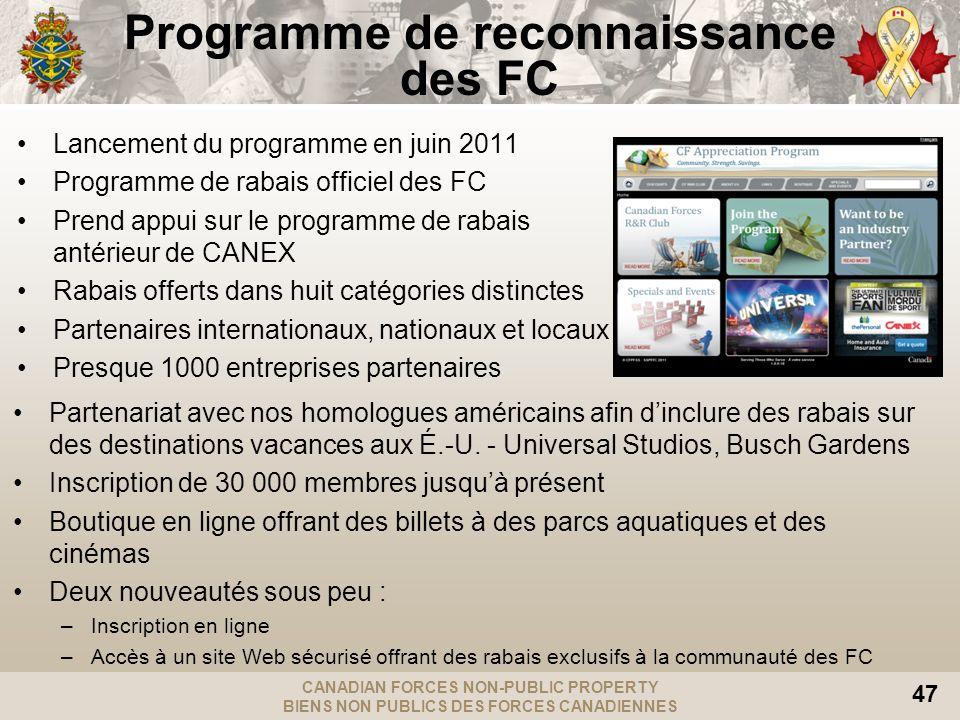 CANADIAN FORCES NON-PUBLIC PROPERTY BIENS NON PUBLICS DES FORCES CANADIENNES 47 Programme de reconnaissance des FC Lancement du programme en juin 2011