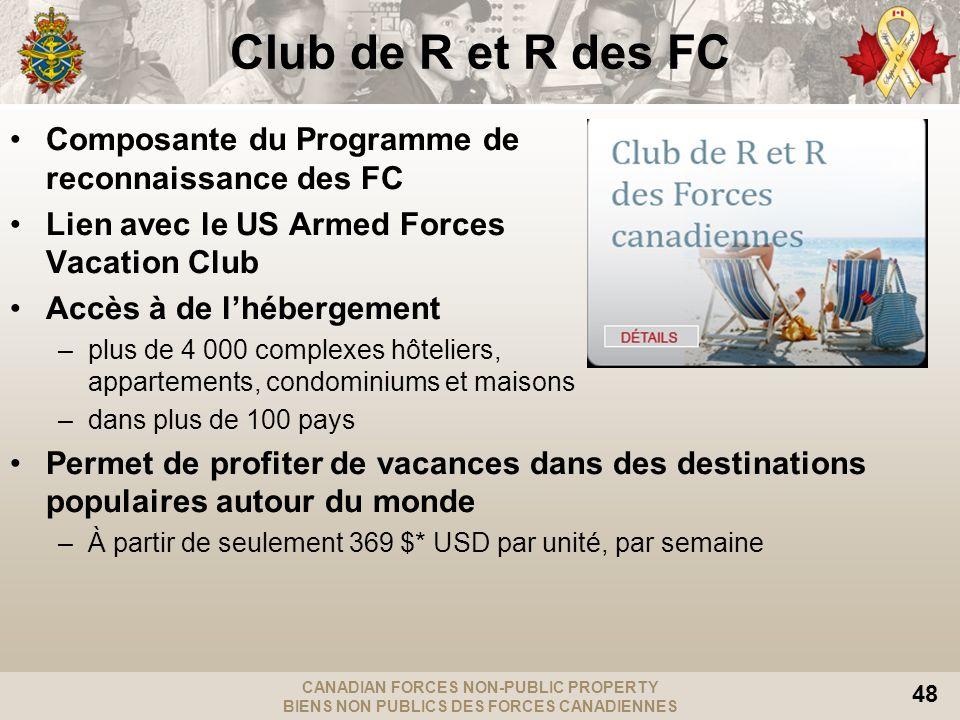 CANADIAN FORCES NON-PUBLIC PROPERTY BIENS NON PUBLICS DES FORCES CANADIENNES 48 Club de R et R des FC Composante du Programme de reconnaissance des FC