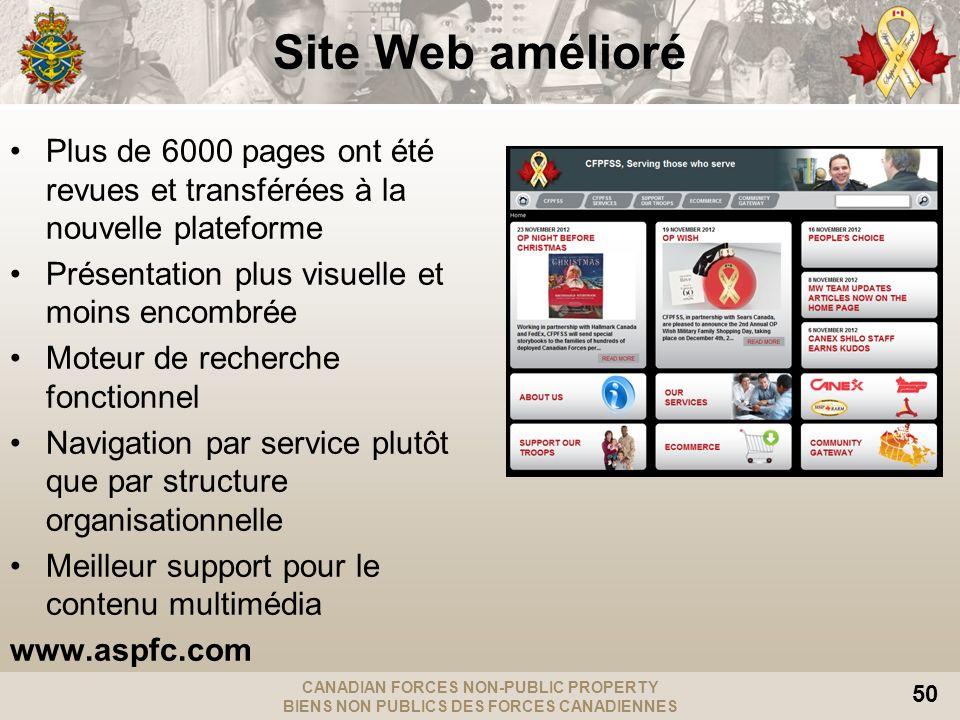 CANADIAN FORCES NON-PUBLIC PROPERTY BIENS NON PUBLICS DES FORCES CANADIENNES 50 Site Web amélioré Plus de 6000 pages ont été revues et transférées à l