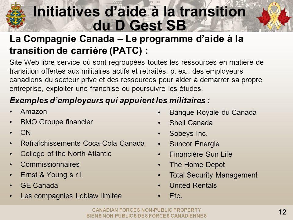 CANADIAN FORCES NON-PUBLIC PROPERTY BIENS NON PUBLICS DES FORCES CANADIENNES 12 La Compagnie Canada – Le programme daide à la transition de carrière (