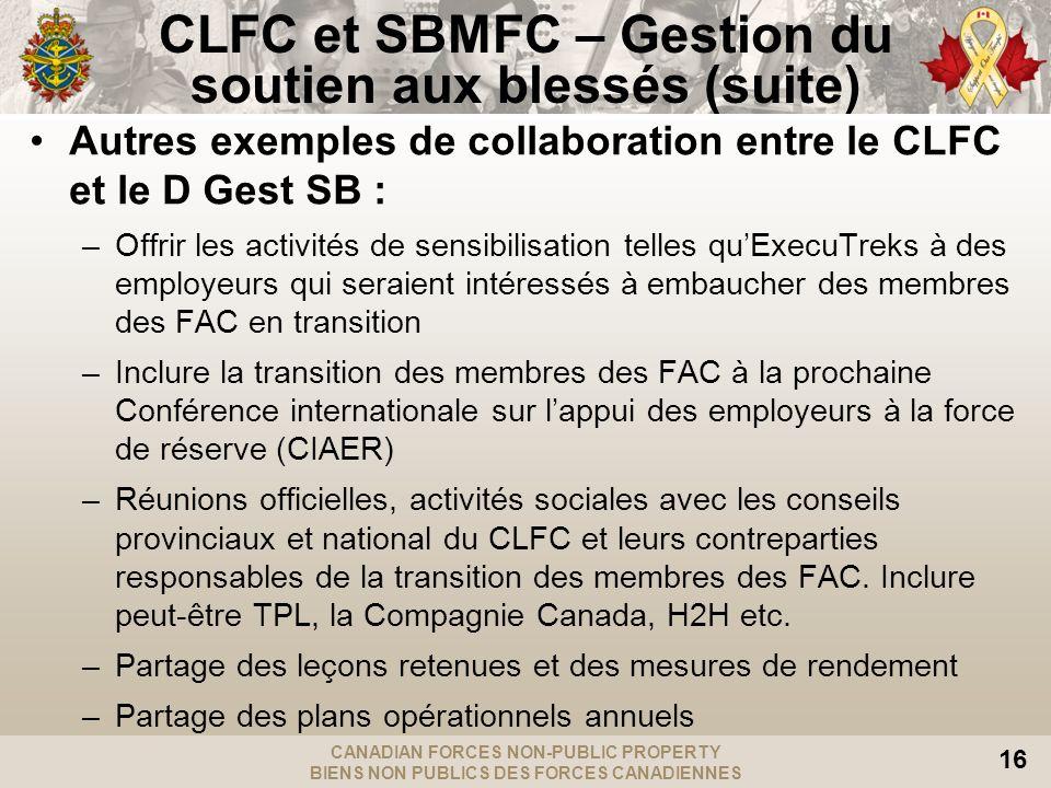CANADIAN FORCES NON-PUBLIC PROPERTY BIENS NON PUBLICS DES FORCES CANADIENNES 16 Autres exemples de collaboration entre le CLFC et le D Gest SB : –Offr