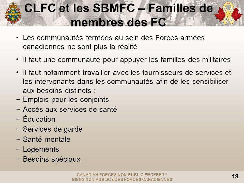 CANADIAN FORCES NON-PUBLIC PROPERTY BIENS NON PUBLICS DES FORCES CANADIENNES 19 Les communautés fermées au sein des Forces armées canadiennes ne sont
