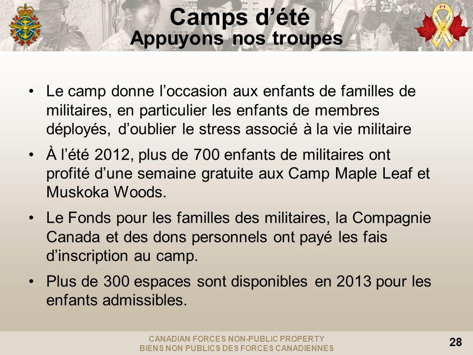 CANADIAN FORCES NON-PUBLIC PROPERTY BIENS NON PUBLICS DES FORCES CANADIENNES 28 Le camp donne loccasion aux enfants de familles de militaires, en particulier les enfants de membres déployés, doublier le stress associé à la vie militaire À lété 2012, plus de 700 enfants de militaires ont profité dune semaine gratuite aux Camp Maple Leaf et Muskoka Woods.