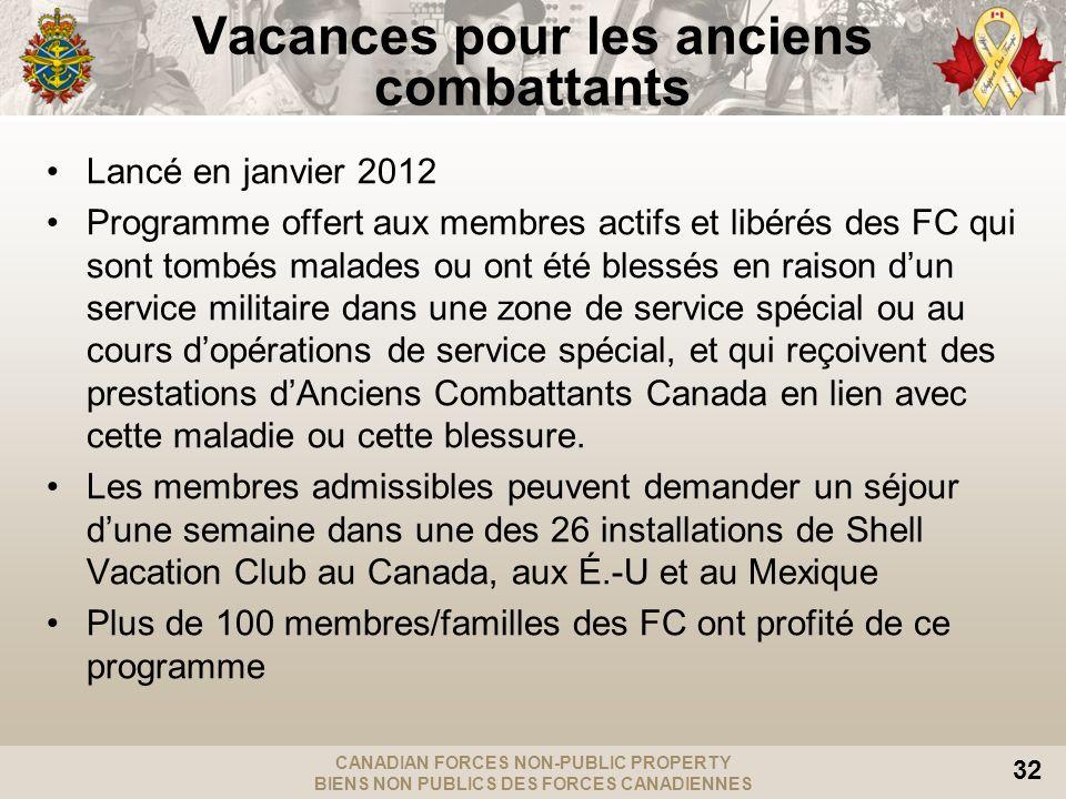 CANADIAN FORCES NON-PUBLIC PROPERTY BIENS NON PUBLICS DES FORCES CANADIENNES 32 Vacances pour les anciens combattants Lancé en janvier 2012 Programme