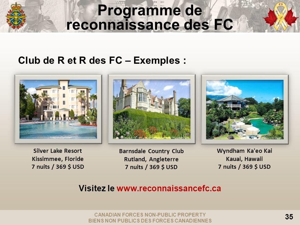 CANADIAN FORCES NON-PUBLIC PROPERTY BIENS NON PUBLICS DES FORCES CANADIENNES 35 Club de R et R des FC – Exemples : Visitez le www.reconnaissancefc.ca