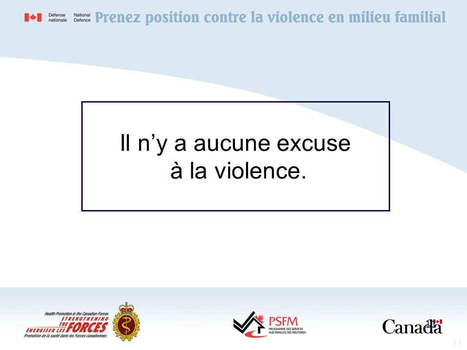 11 Il ny a aucune excuse à la violence. 11