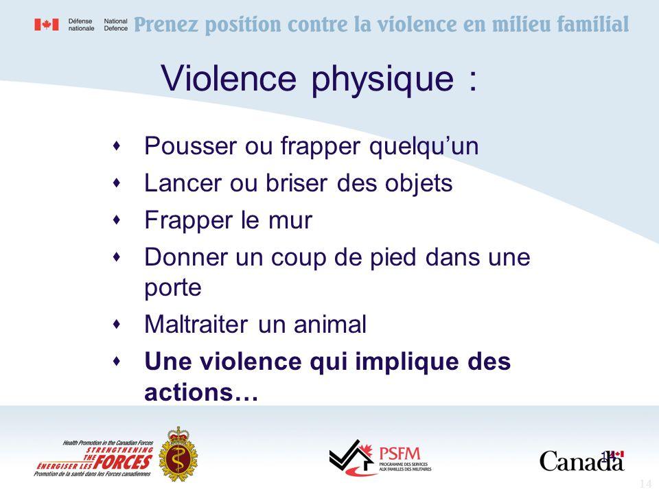 14 Violence physique : Pousser ou frapper quelquun Lancer ou briser des objets Frapper le mur Donner un coup de pied dans une porte Maltraiter un anim
