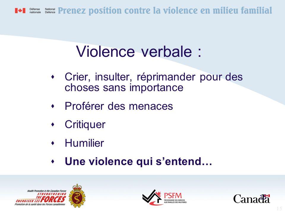 15 Violence verbale : Crier, insulter, réprimander pour des choses sans importance Proférer des menaces Critiquer Humilier Une violence qui sentend… 1