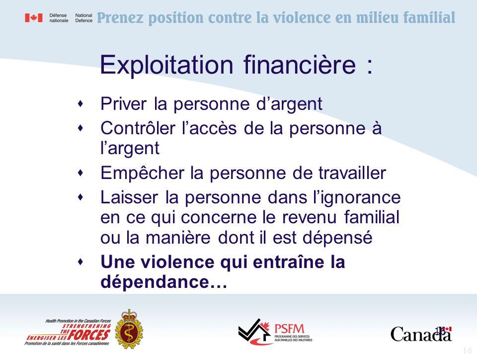 16 Exploitation financière : Priver la personne dargent Contrôler laccès de la personne à largent Empêcher la personne de travailler Laisser la person