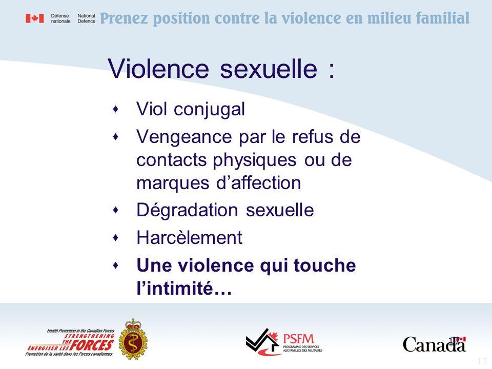 17 Violence sexuelle : Viol conjugal Vengeance par le refus de contacts physiques ou de marques daffection Dégradation sexuelle Harcèlement Une violen