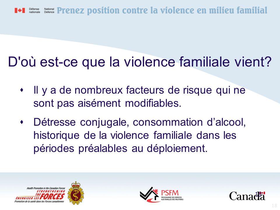 18 D'où est-ce que la violence familiale vient? Il y a de nombreux facteurs de risque qui ne sont pas aisément modifiables. Détresse conjugale, consom