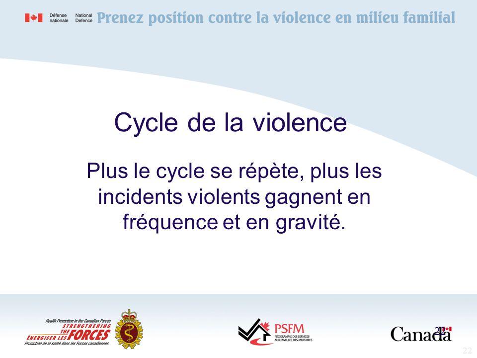 22 Cycle de la violence Plus le cycle se répète, plus les incidents violents gagnent en fréquence et en gravité. 22