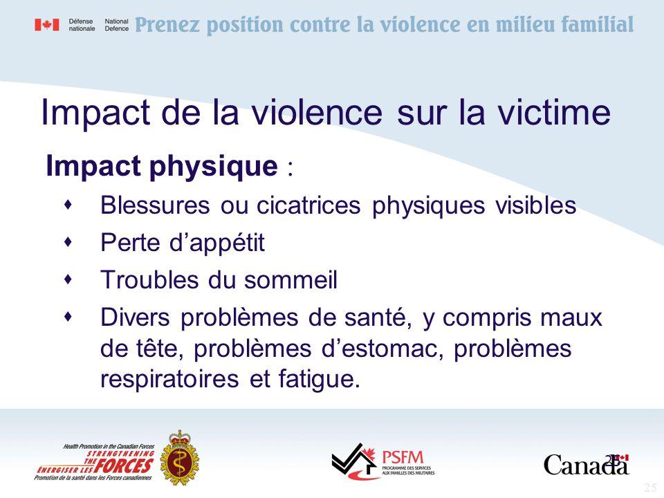 25 Impact de la violence sur la victime Impact physique : Blessures ou cicatrices physiques visibles Perte dappétit Troubles du sommeil Divers problèm