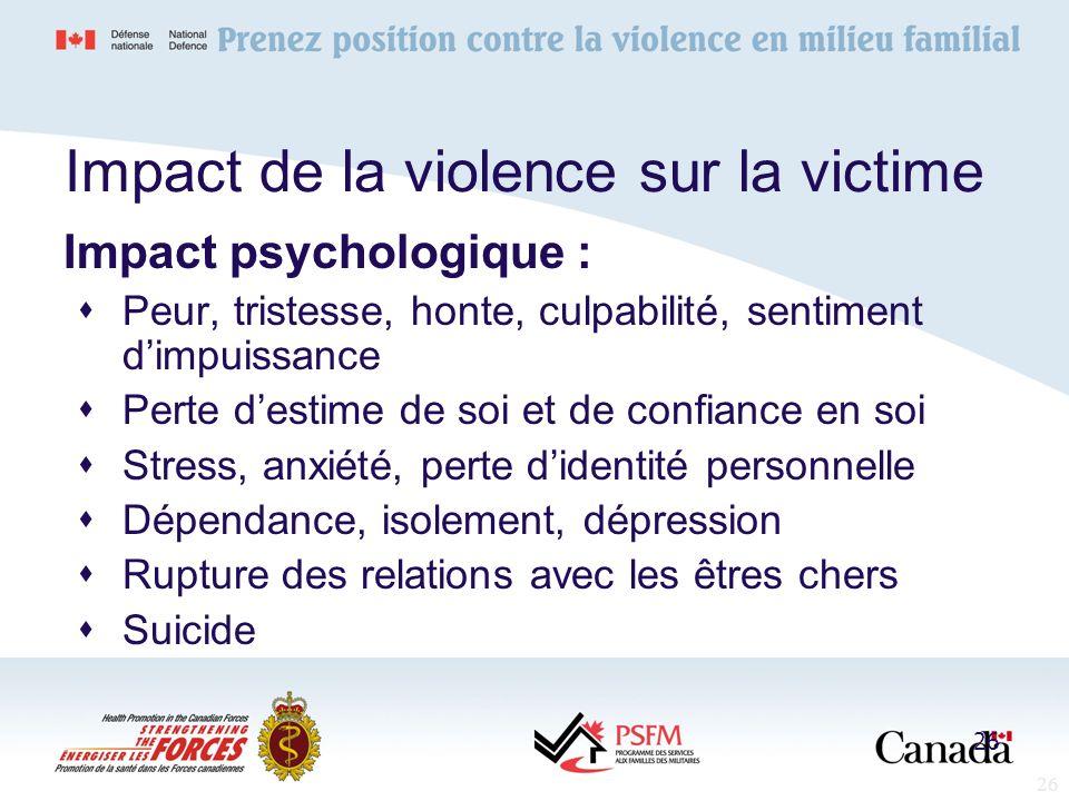 26 Impact psychologique : Peur, tristesse, honte, culpabilité, sentiment dimpuissance Perte destime de soi et de confiance en soi Stress, anxiété, per