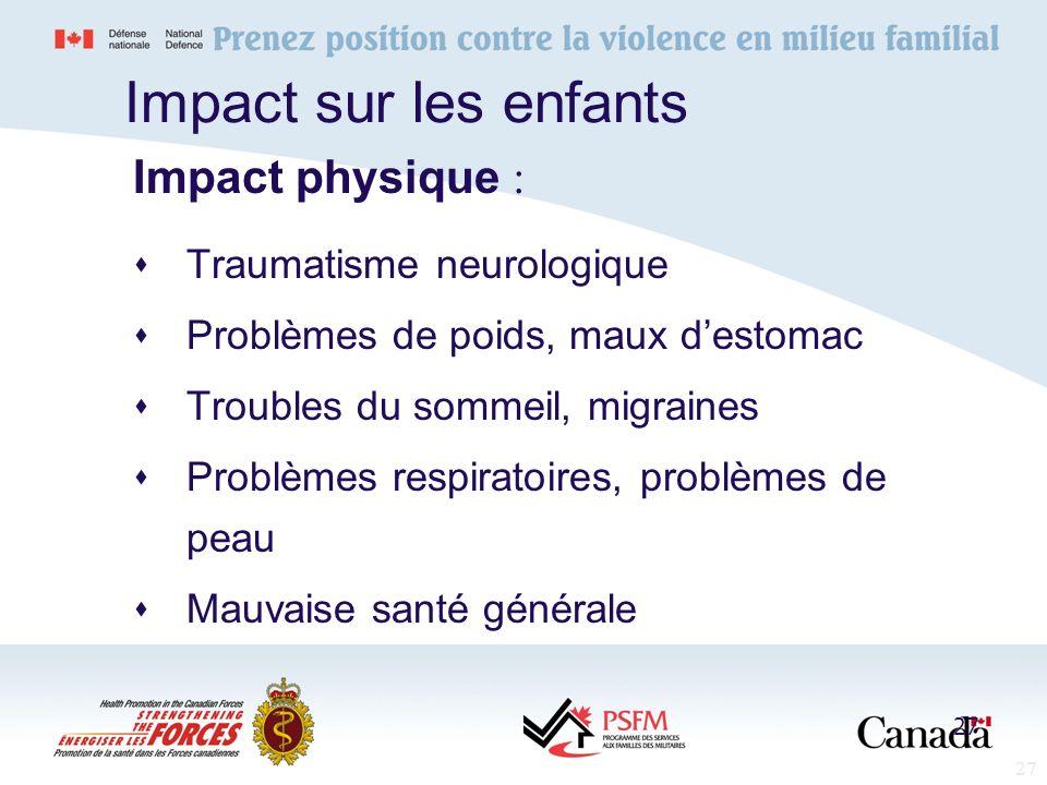 27 Impact sur les enfants Traumatisme neurologique Problèmes de poids, maux destomac Troubles du sommeil, migraines Problèmes respiratoires, problèmes