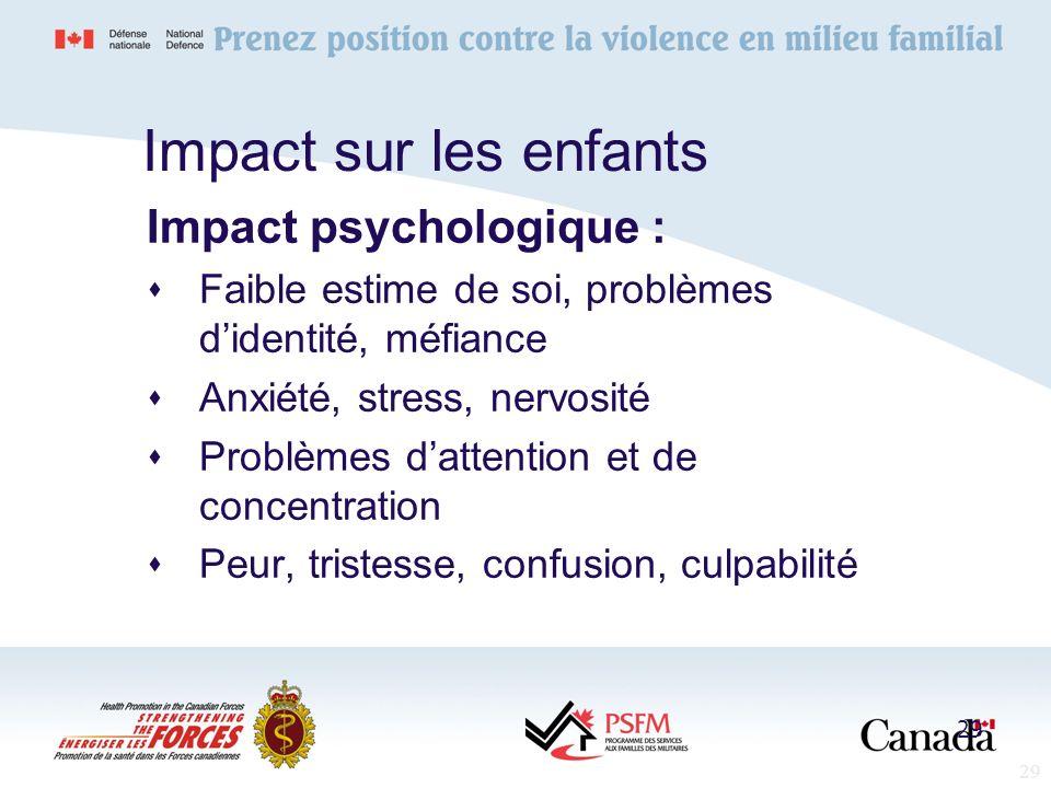 29 Impact sur les enfants Impact psychologique : Faible estime de soi, problèmes didentité, méfiance Anxiété, stress, nervosité Problèmes dattention e