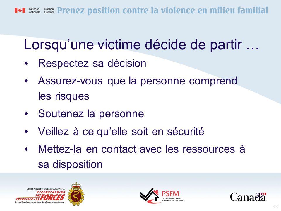 33 Lorsquune victime décide de partir … Respectez sa décision Assurez-vous que la personne comprend les risques Soutenez la personne Veillez à ce quel