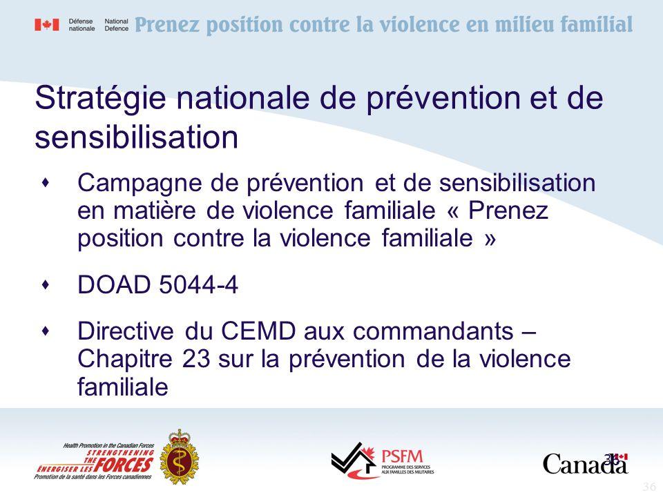 36 Stratégie nationale de prévention et de sensibilisation Campagne de prévention et de sensibilisation en matière de violence familiale « Prenez posi