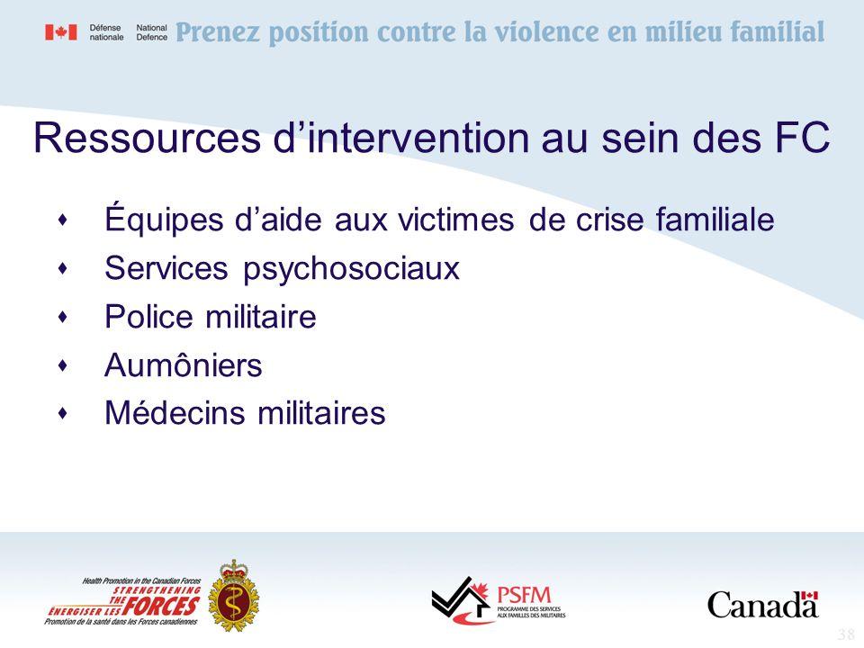 38 Ressources dintervention au sein des FC Équipes daide aux victimes de crise familiale Services psychosociaux Police militaire Aumôniers Médecins mi