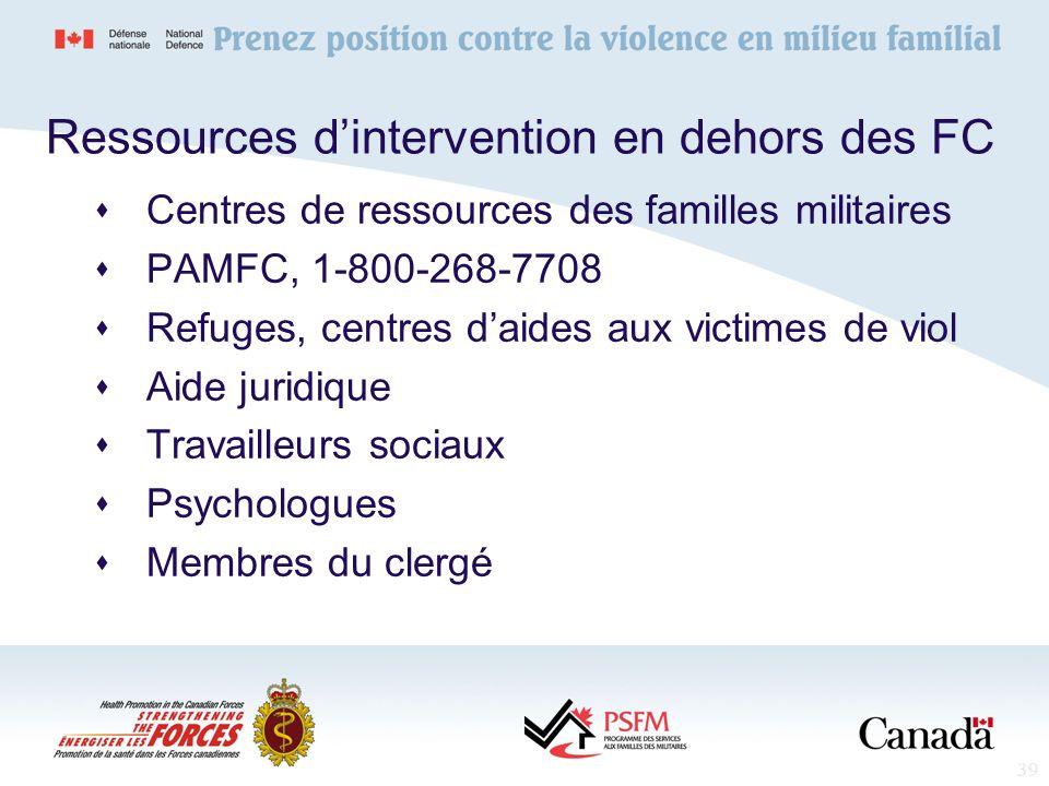 39 Ressources dintervention en dehors des FC Centres de ressources des familles militaires PAMFC, 1-800-268-7708 Refuges, centres daides aux victimes