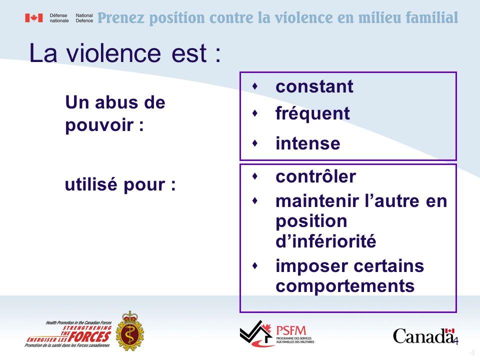 4 La violence est : constant fréquent intense contrôler maintenir lautre en position dinfériorité imposer certains comportements Un abus de pouvoir :