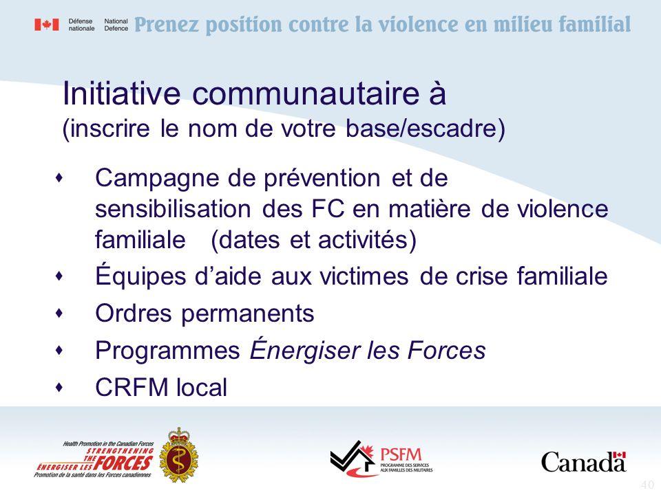 40 Initiative communautaire à (inscrire le nom de votre base/escadre) Campagne de prévention et de sensibilisation des FC en matière de violence famil