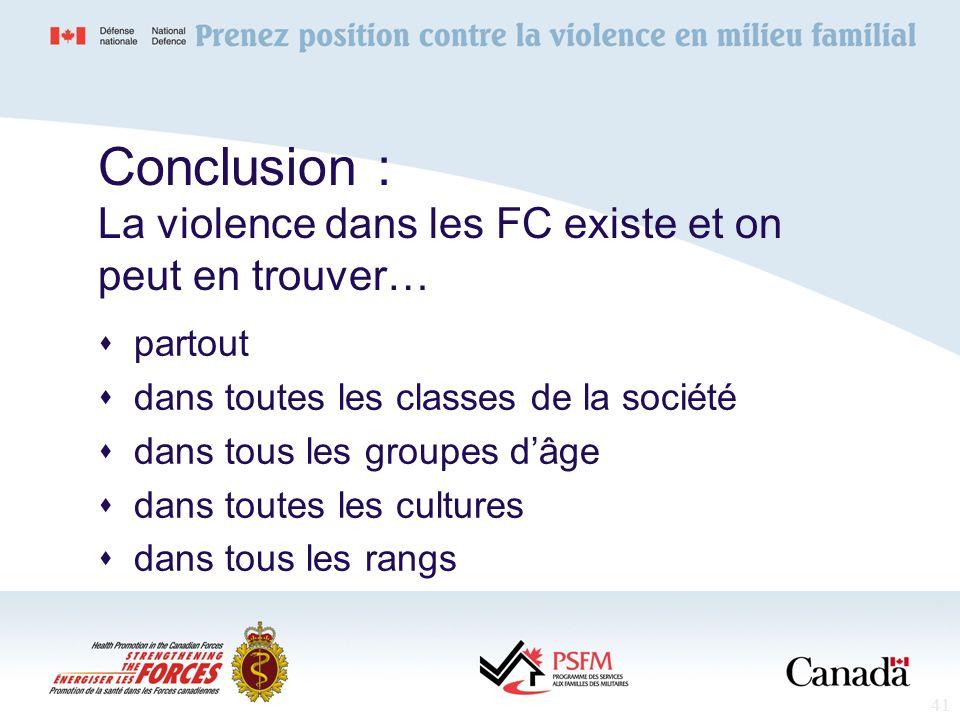 41 Conclusion : La violence dans les FC existe et on peut en trouver… partout dans toutes les classes de la société dans tous les groupes dâge dans to