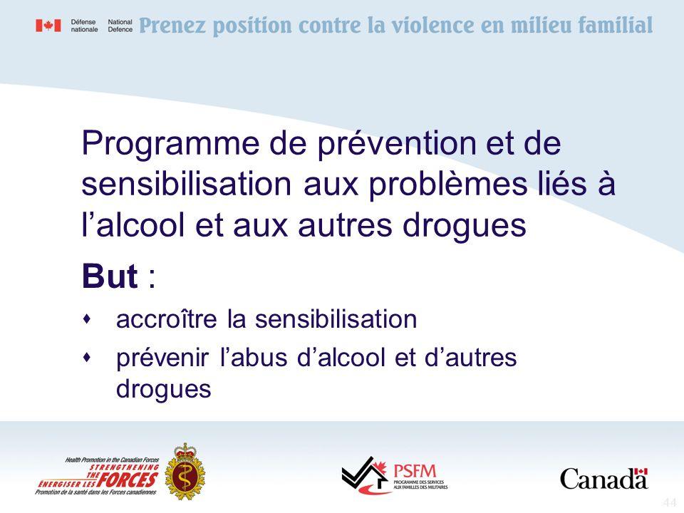 44 Programme de prévention et de sensibilisation aux problèmes liés à lalcool et aux autres drogues But : accroître la sensibilisation prévenir labus