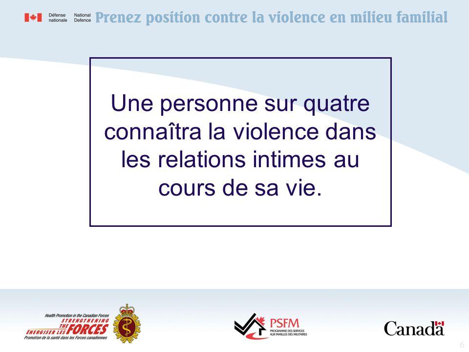 6 Une personne sur quatre connaîtra la violence dans les relations intimes au cours de sa vie.