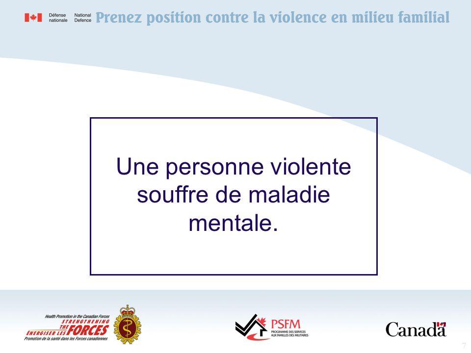8 La violence familiale est généralement causée par labus dalcool. 8