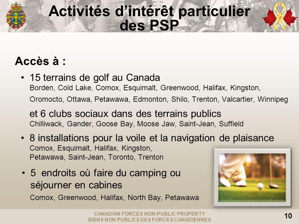 CANADIAN FORCES NON-PUBLIC PROPERTY BIENS NON PUBLICS DES FORCES CANADIENNES 10 Activités dintérêt particulier des PSP Accès à : 15 terrains de golf au Canada Borden, Cold Lake, Comox, Esquimalt, Greenwood, Halifax, Kingston, Oromocto, Ottawa, Petawawa, Edmonton, Shilo, Trenton, Valcartier, Winnipeg et 6 clubs sociaux dans des terrains publics Chilliwack, Gander, Goose Bay, Moose Jaw, Saint-Jean, Suffield 8 installations pour la voile et la navigation de plaisance Comox, Esquimalt, Halifax, Kingston, Petawawa, Saint-Jean, Toronto, Trenton 5 endroits où faire du camping ou séjourner en cabines Comox, Greenwood, Halifax, North Bay, Petawawa