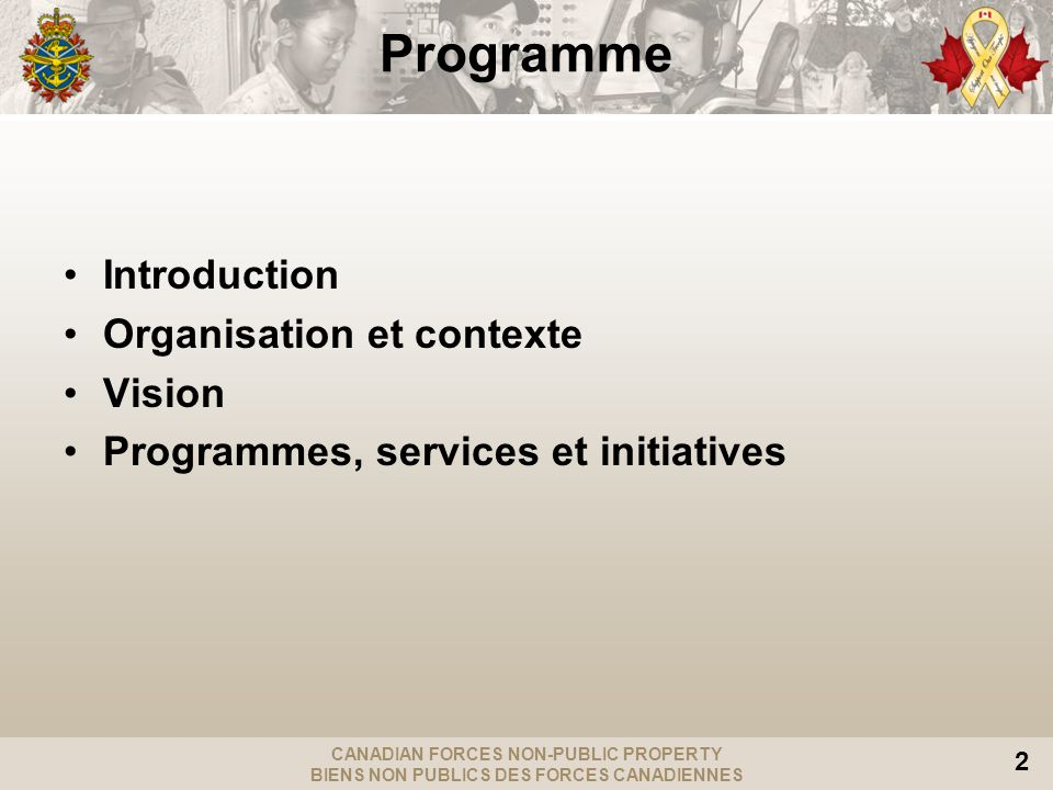 CANADIAN FORCES NON-PUBLIC PROPERTY BIENS NON PUBLICS DES FORCES CANADIENNES 2 Programme Introduction Organisation et contexte Vision Programmes, services et initiatives