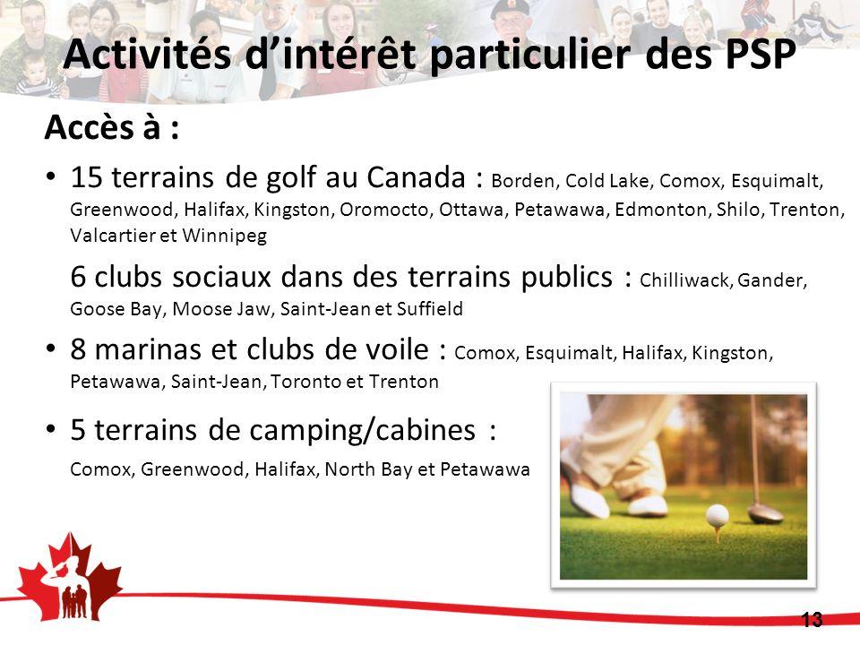 Accès à : 15 terrains de golf au Canada : Borden, Cold Lake, Comox, Esquimalt, Greenwood, Halifax, Kingston, Oromocto, Ottawa, Petawawa, Edmonton, Shilo, Trenton, Valcartier et Winnipeg 6 clubs sociaux dans des terrains publics : Chilliwack, Gander, Goose Bay, Moose Jaw, Saint-Jean et Suffield 8 marinas et clubs de voile : Comox, Esquimalt, Halifax, Kingston, Petawawa, Saint-Jean, Toronto et Trenton 5 terrains de camping/cabines : Comox, Greenwood, Halifax, North Bay et Petawawa 13 Activités dintérêt particulier des PSP