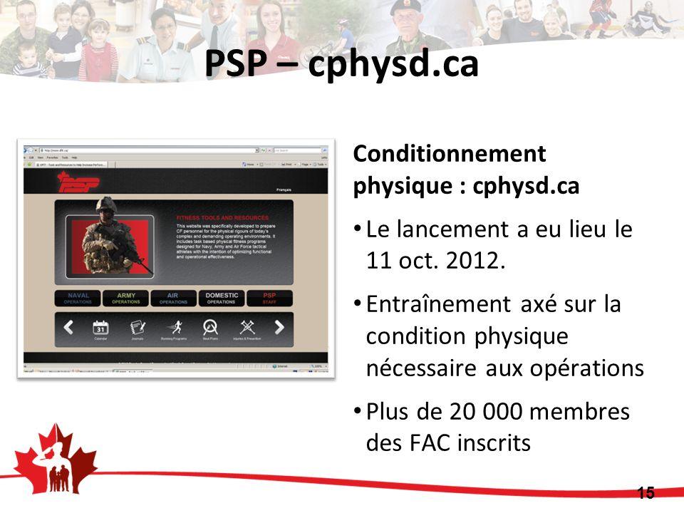 15 Conditionnement physique : cphysd.ca Le lancement a eu lieu le 11 oct. 2012. Entraînement axé sur la condition physique nécessaire aux opérations P
