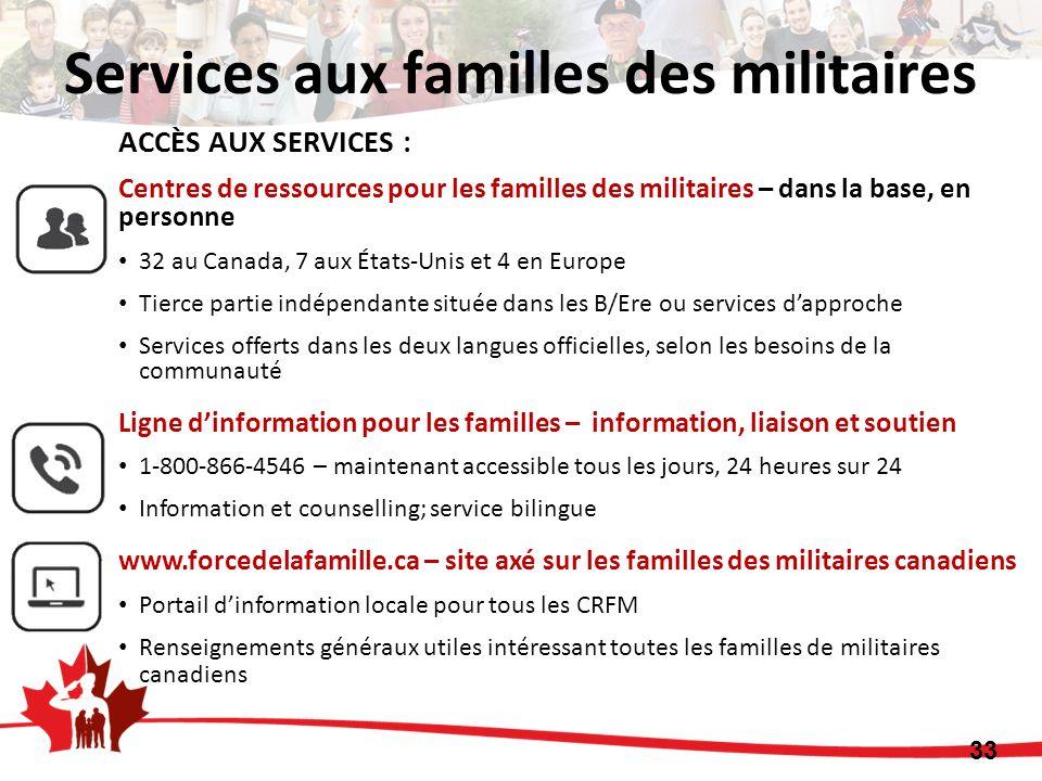 33 ACCÈS AUX SERVICES : Centres de ressources pour les familles des militaires – dans la base, en personne 32 au Canada, 7 aux États-Unis et 4 en Euro
